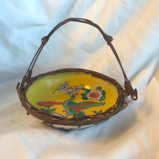 Hand-Painted Vintage Ceramic Basket With Stick Handle and Encasing Made in Japan