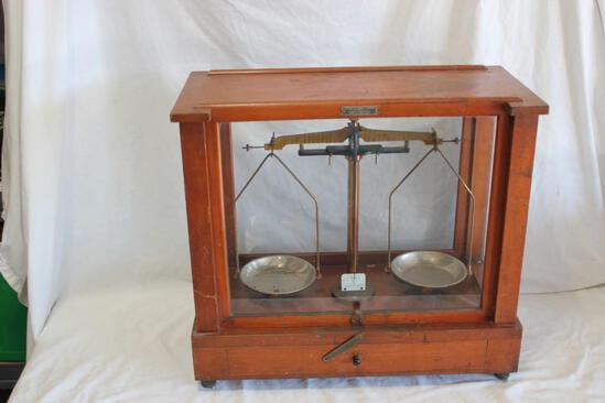 Antique Fisher Scientific Medical Scales In Oak and Glass Case