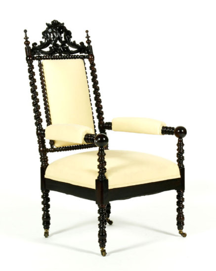 Hunzinger Style Rosewood Upholstered Arm Chair