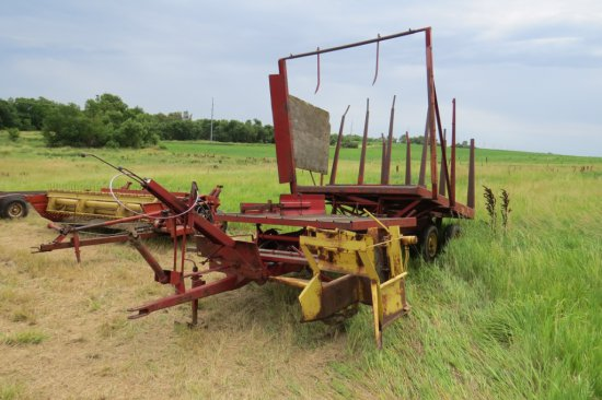 New Holland Model 1030 Pull-Type Tandem Axle Bale  Wagon, SN# 14453, PTO Drive, Hydraulic Lift Bed,