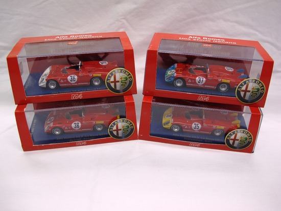 (4) MF 1:43 Scale Models in Boxes,  Alfa Romeo. Made in R.P.C.