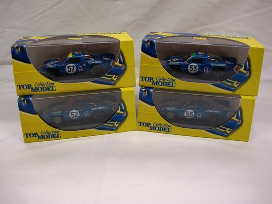 (4) Top Model Collection 1:43 Scale Models in Boxes, Alpine Renault, Made i