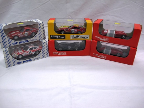 (6) Top Model Collection 1:43 Scale Models in Boxes, Ferrari & Jaquar, Made