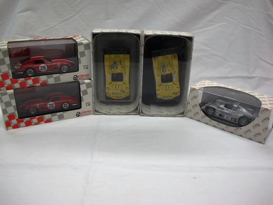 (5) Various Brands 1:34 Scale Models in Boxes, Ferrari, Lola, Peugeout, Mad