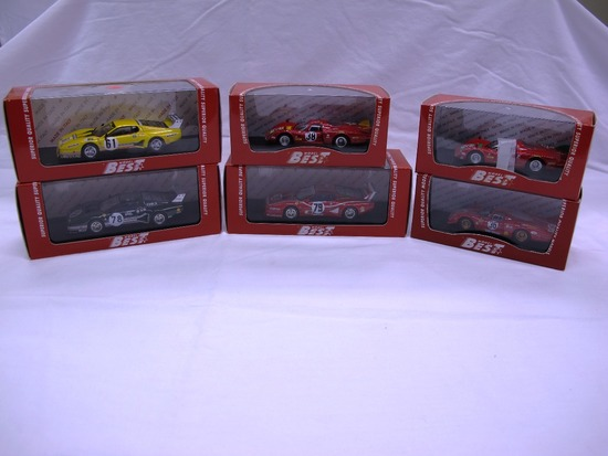 (6) Best Model 1:43 Scale Models in Boxes,Ferrrari & Alfa Romeo, Made in It