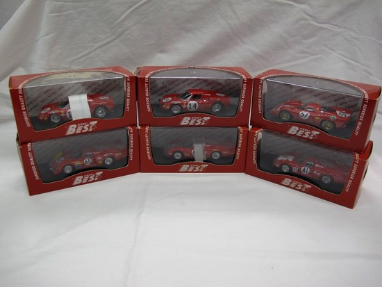 (6) Best Model 1:43 Scale, Models in Boxes, Ferrrari & Alfa Romeo, Made in