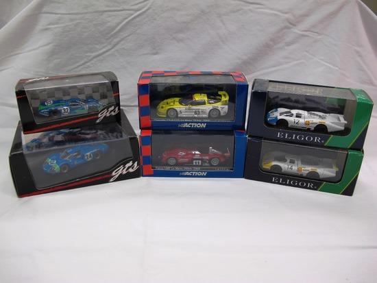 (2) GTS, (2) Action, (2) Eligor 1:43 Scale Models in Boxes, Matra, Corvette