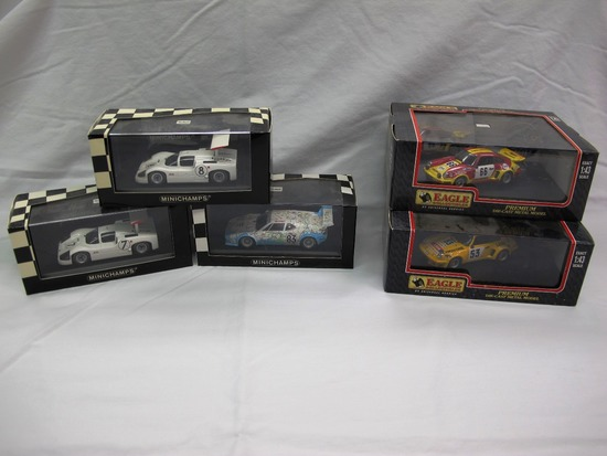 (5) Various Brands 1:43 Scale Model in Boxes, Porsche, BMW, and Chaparral,