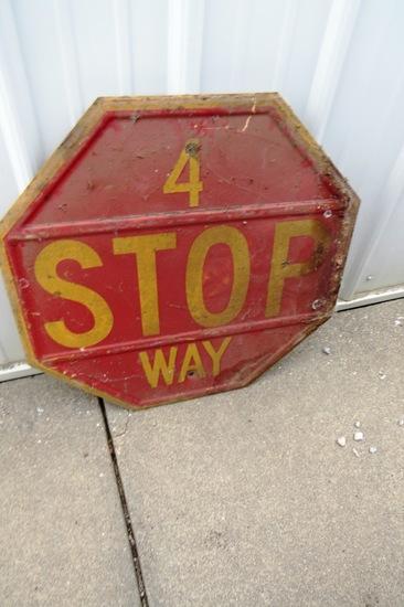 Original 4-Way Stop Metal Sign.
