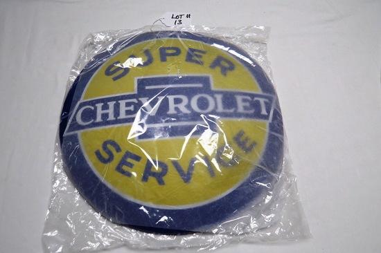"Chevrolet Super Service Round Metal Sign, 15 3/4"" Diameter, Reproduction."