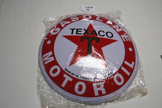 "Texaco Gasoline - Motor Oil "" Round Metal Sign, 15 3/4"" Diameter, Reproduction."
