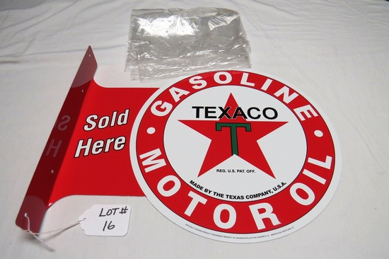 """Texaco Gasoline Motor Oil Sold Here Double Sided Reproduction Sign, 17 1/2"""" Wide x 13 1/2"""" Tall."""