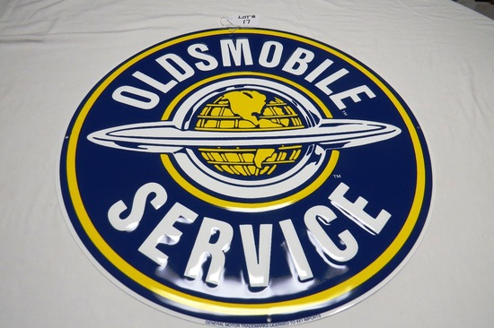 """Oldsmobile Service Round Single-Sided Metal Reproduction Sign, 23 1/2"""" Diameter."""