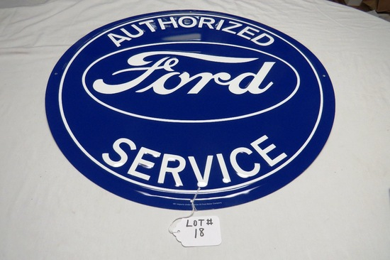 """Ford Authorized Service Round Single Sided Metal Reproduction Sign, 23 1/2"""" Diameter."""