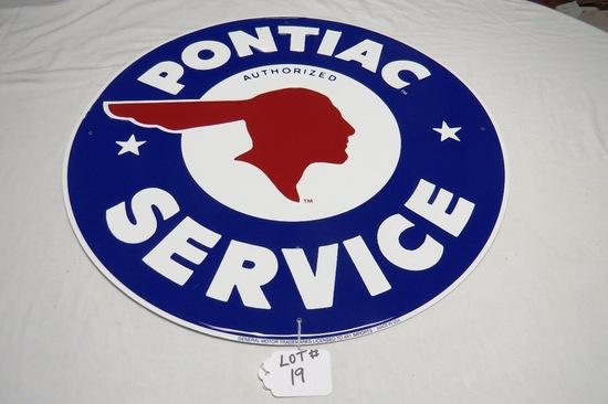 "Pontiac Authorized Service Round Metal Reproduction Sign, 23 1/2"" Diameter."