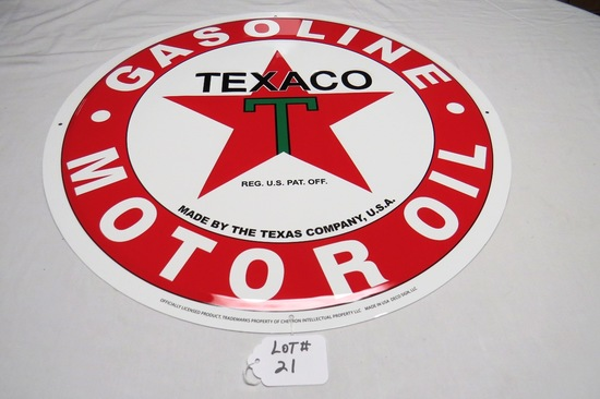 """Texaco Gasoline - Motor Oil Round Single Sided Reproduction Sign, 23 1/2"""" Diameter."""