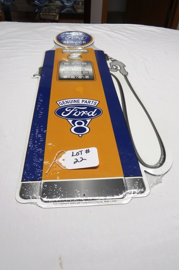 """Ford Sales-Service-Genuine Parts Metal Gas Pump Reproduction Sign, 29 3/4"""" Tall."""