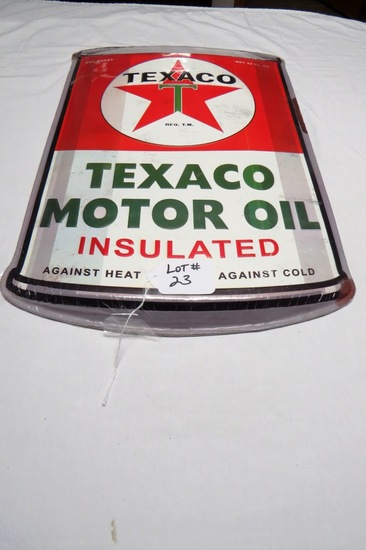 """Texaco Motor Oil Insulated Metal Reproduction Oil Can Sign, 24"""" Tall x 15 1/4"""" Wide."""