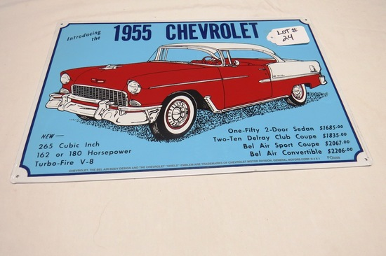 """1955 Chevrolet Metal Reproduction Sign, 11 3/4"""" Tall x 17 3/4"""" Wide."""
