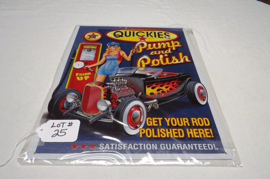 """Quickies Pump & Polish Metal Reproduction Sign, 12 1/2"""" Wide x 16"""" Tall."""