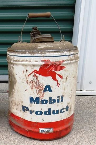 (1) Original Mobil Gasoline 5-Gallon Metal Can (Large Red Horse).