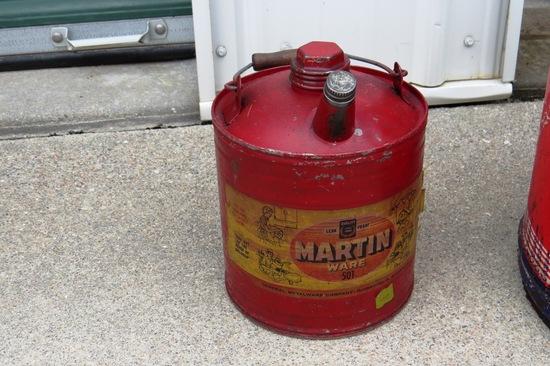 (1) Original 1-Gallon Gas Can with Both Lids (Martin Ware Oils).