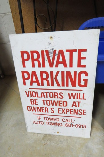 "Private Parking Metal Sign, 18"" Tall, 12"" Wide."