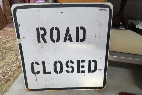 "Road Closed Metal Sign, 24""."