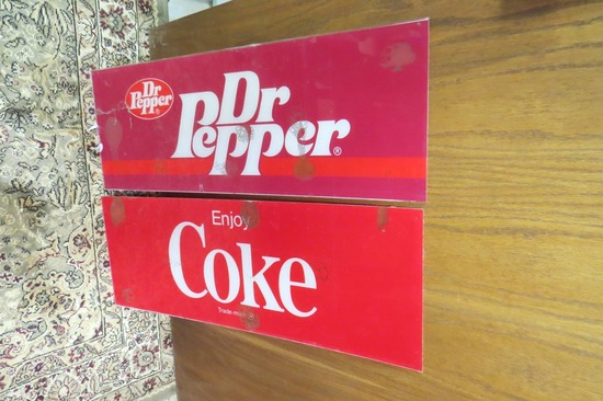 "(2) Plastic Pop Inserts-Coca Cola & Dr. Pepper, 26"" x 9 1/2""."