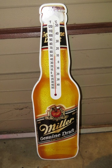 Metal Miller Genuine Draft Wall Sign with Thermometer.