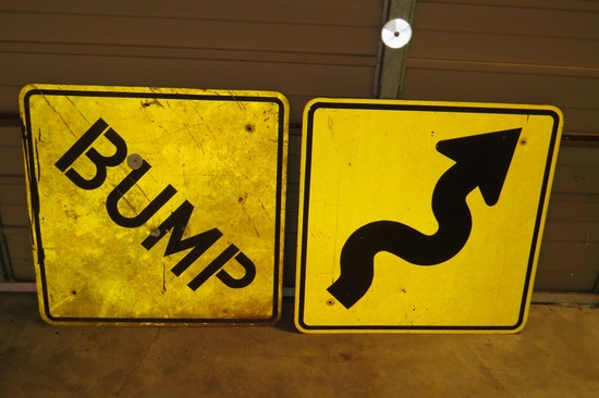"Bump & Curvy Road Ahead Metal Signs, 30"" Square."