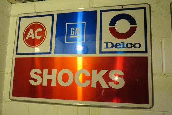 GM & AC Delco Shocks Metal Sign.