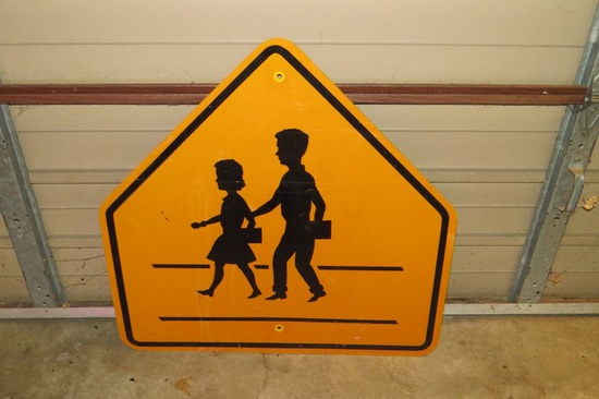 "School Children Crossing Sign-Plastic, 30"" Wide."