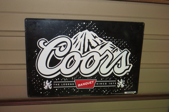 Metal Coors Banquet Beer Sign.