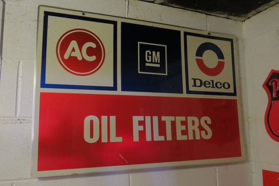 GM AC Delco Oil Filter Metal Sign.