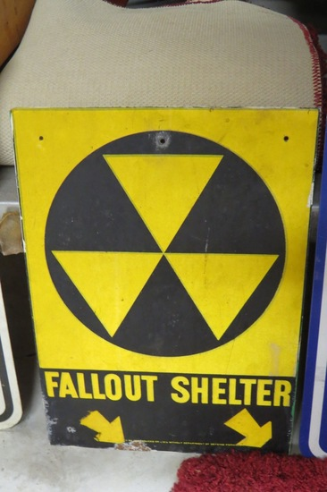 "Fallout Shelter Sign, 14"" Tall x 10"" Wide."