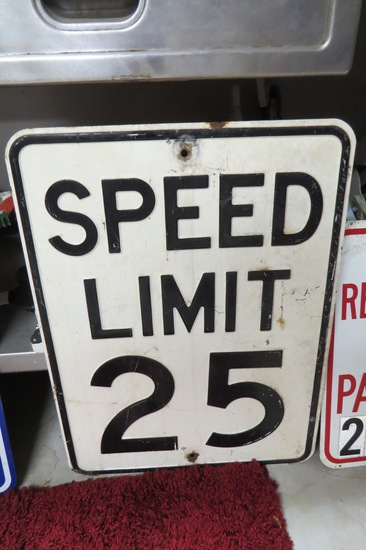 "Speed Limit 25 Sign, 24"" Tall x 18"" Wide, Enamel."