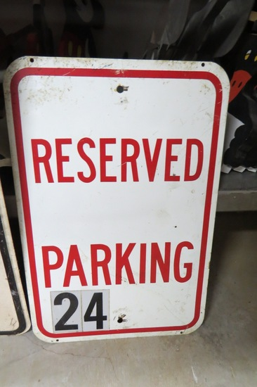 "Reserved Parking Metal Sign, 18"" Tall, 12"" Wide."