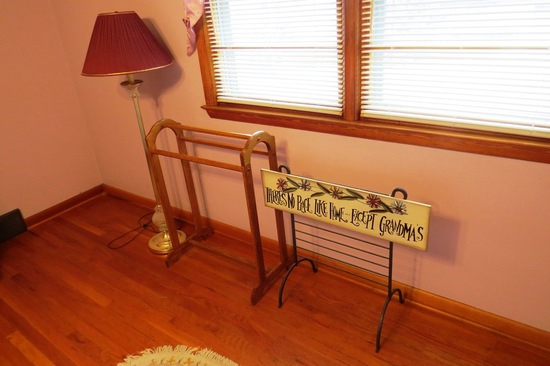 3-Piece Set: (2) Blanket Racks - (1) Oak, (1) Metal, Floor Lamp.