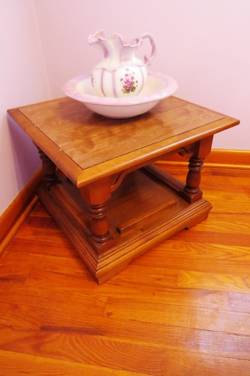 Side Table with Bowl & Pitcher.