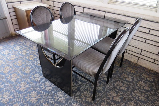 5-Piece Dinette Set with Glass Top Table with (4) Metal Chairs with Padded