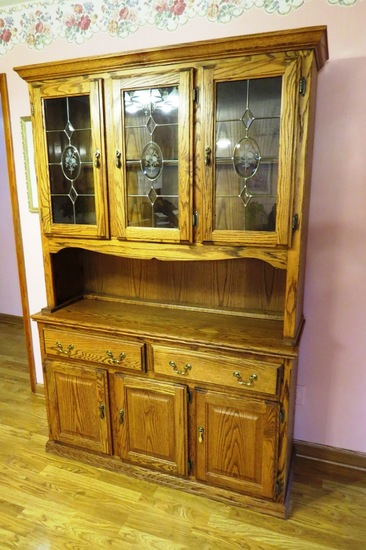 "Oak Kitchen China Hutch, 77 3/4"" Tall x 17"" Deep x 52 1/2"" Wide, (3) Glass"