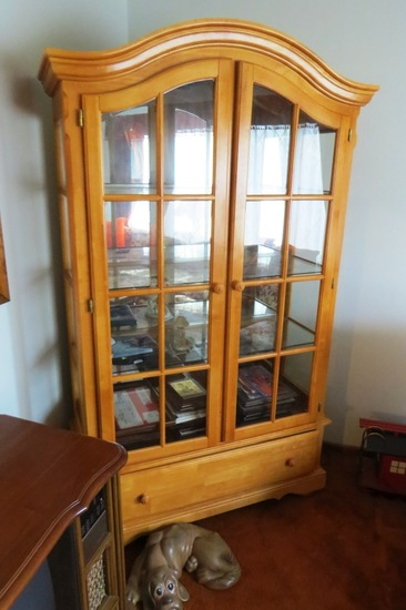 Solid Maple Curio Cabinet with (3) Glass Shelves, Single Drawer on Bottom,