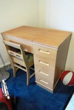 Sewing Machine - Necchi with Blonde Wood Sewing Desk & Matching Chair, Foot