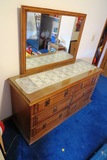 Thomasville Double/Full Bed Frame with Headboard & 6-Drawer Dresser with Mi