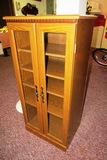 (2) Wood Veneer Curio/Stereo Cabinets with Glass Doors (Stero-17