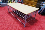 Metal Framed Coffee Table & Solid Wood 3-Drawer Chest of Drawers.