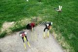 Metal Yard Art: (2) Shovels, Cob Fork, Heart & Dragonfly.