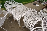 (4) Double Benches & (2) Single Chairs of White Cast Iron & Flower Pot.