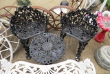 3-Piece Black Cast Iron Chairs & Table Set.